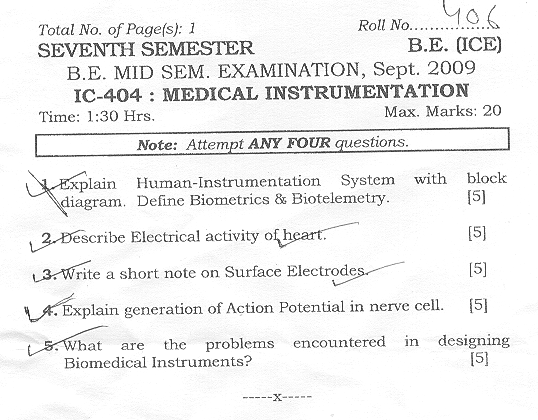 NSIT: Question Papers 2009 – 7 Semester - Mid Sem - IC-404