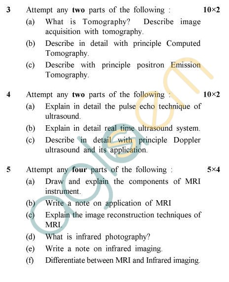 UPTU B.Tech Question Papers - BME-605 - Medical Imaging Techniques