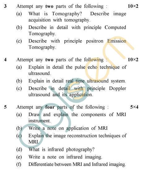 UPTU B.Tech Question Papers -BME-605 - Medical Imaging Techniques