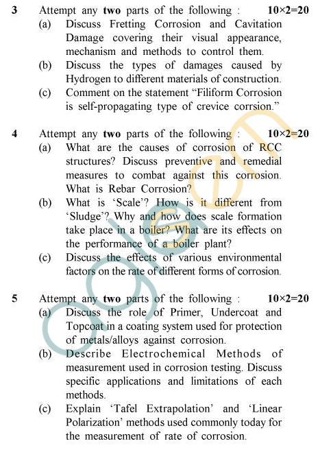 UPTU B.Tech Question Papers - PT-011 - Corrosion Engineering