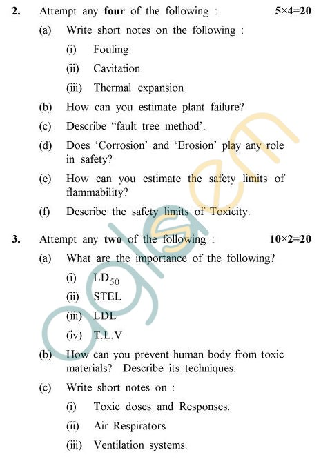 UPTU B.Tech Question Papers -CH-806 - Industrial Safety & Hazard Management