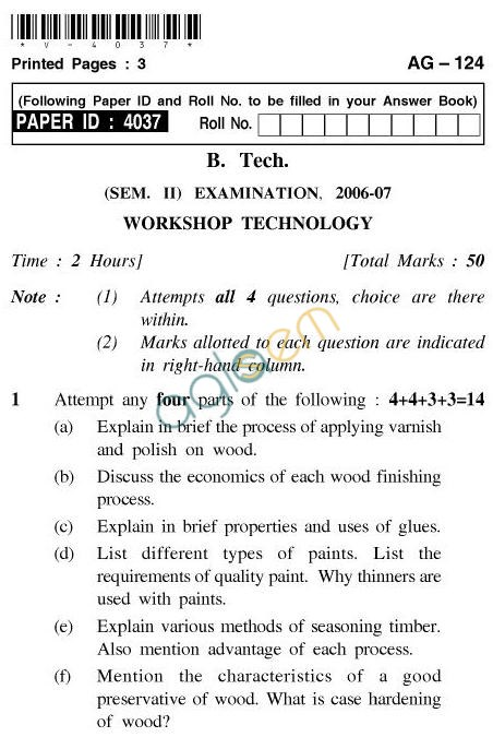 UPTU: B.Tech Question Papers - AG-124 - Workshop Technology