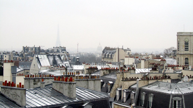 Paris snowy rooftop