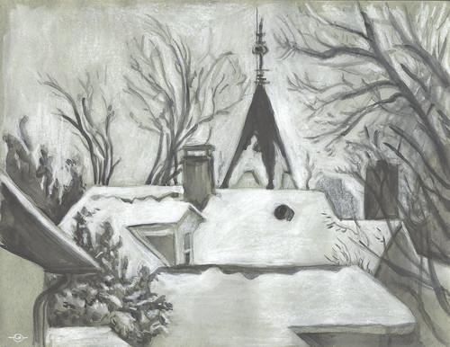 winter urbanlandscape willoughbyhouse cedarfallsiowa whitegouache watersolublegraphitestick marciamilnerbrage whitewatersolublewaxpastel greytintedpaper