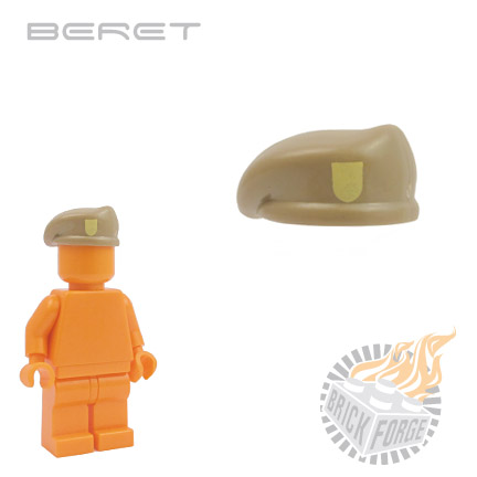Beret - Dark Tan (tan badge print)