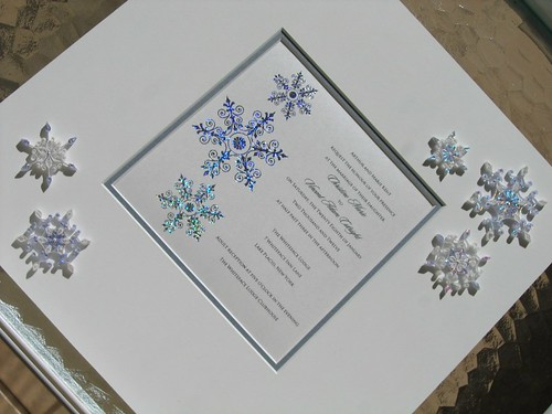 Quilled wedding invitation - snowflakes