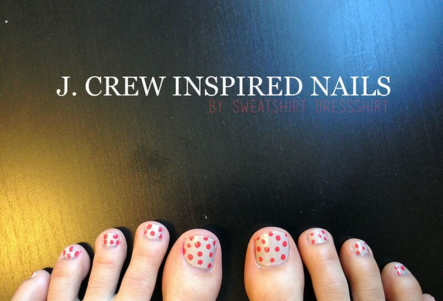 j.crew nails, j.crew inspired nails, nail art, diy nail art, nail tutorial, essie nude nail polish, nude nail polish, polka dotted nails, polka dot nail art