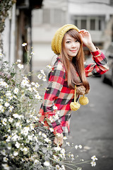 [フリー画像素材] 人物, 女性 - アジア, シャツ・ブラウス, 帽子 ID:201303152200
