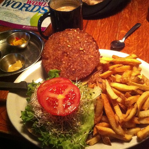 Veggie burger #yegfood by raise my voice