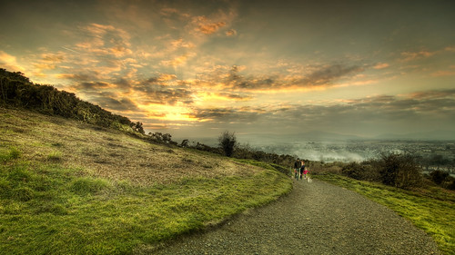sky sun set clouds walk hill