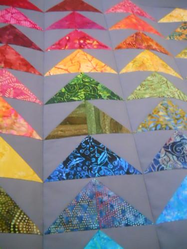 rainbow batik geese quilt 2