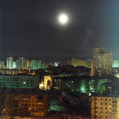 [Free Images] Architecture, City / Town, Moon, Night View, Landscape - Russia ID:201303282000