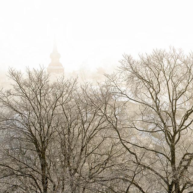 Håsjöstapeln in mist