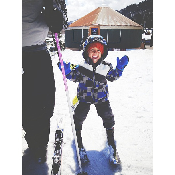 This little one learned to ski today. He enrolled in Mommy Ski School and nailed it! He's a natural! #proud #andalittlesurprised