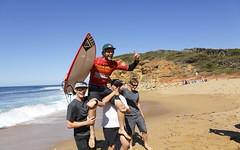 Jan Juc local Jack Perry is carted up Bells Beach after winning the Wingman Trials.