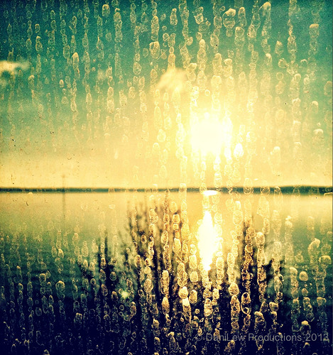 Golden sunrise through a dirty window -  taken with an Apple iPhone 4S