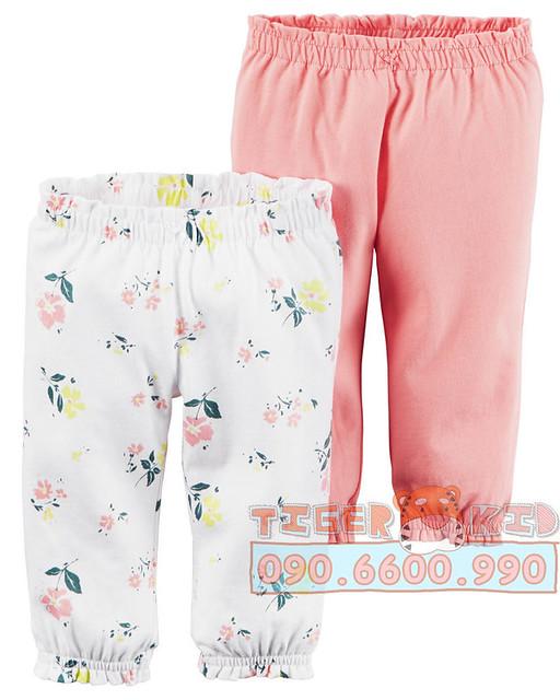 Quần áo trẻ em, bodysuit, Carter, đầm bé gái cao cấp, quần áo trẻ em nhập khẩu, Set 2 quần bé gái nhập Mỹ 6M-24M