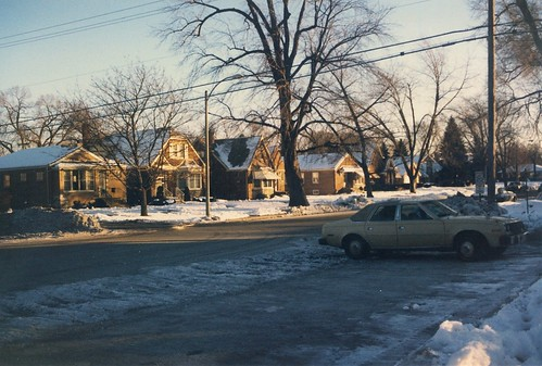 Winter sunset approaches.  Evergreen Park Illinois.  Early January 1988. by Eddie from Chicago