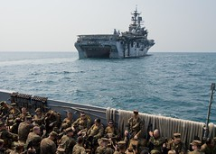 Marines from the 31st Marine Expeditionary Unit depart USS Bonhomme Richard (LHA 6) aboard a landing craft utility (LCU) for a training event ashore during exercise Cobra Gold, Feb. 12. (U.S. Navy photo by Mass Communication Specialist 2nd Class William T. Jenkins)