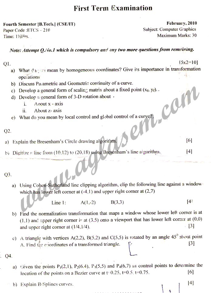 GGSIPU Question Papers Fourth Semester – First Term 2010 – ETCS-210