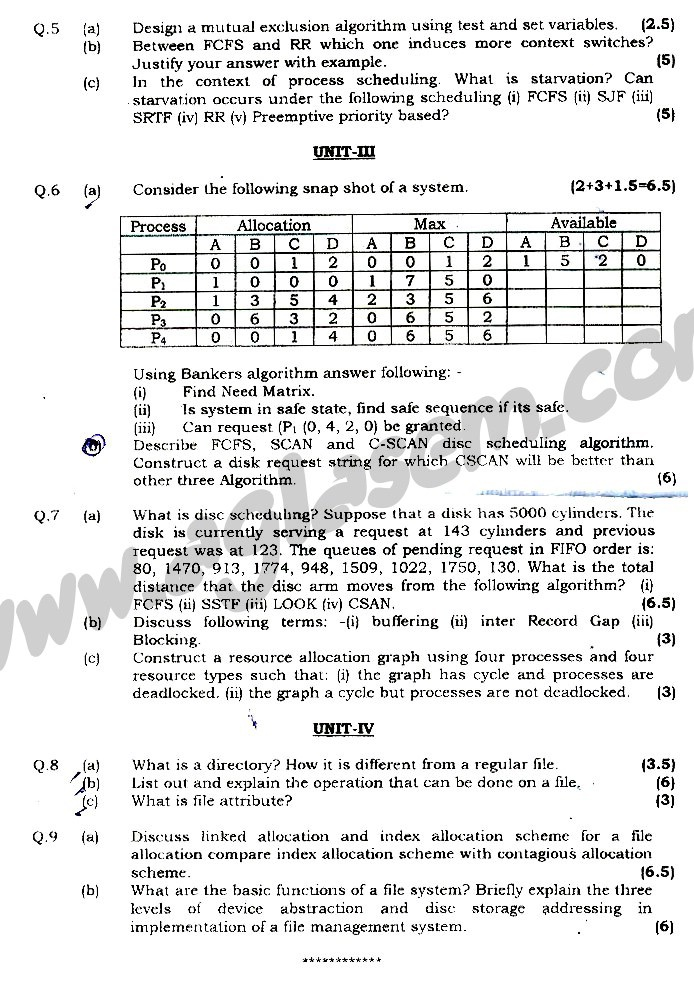 GGSIPU Question Papers Fourth Semester – end Term 2009 – ETCS_212