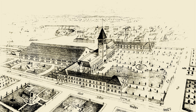 Illustration from The West Shore: Proposed Passenger Station and Offices for Northern Pacific at Portland, Oregon: McKim, Mead & White, 1882