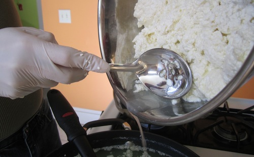 Draining the curds