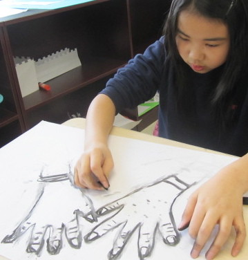 Drawing with wood charcoal, Yew Chung International School of Beijing 9