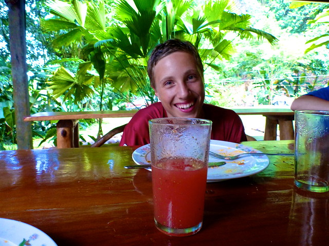 Enjoying fresh juice at El Chontal