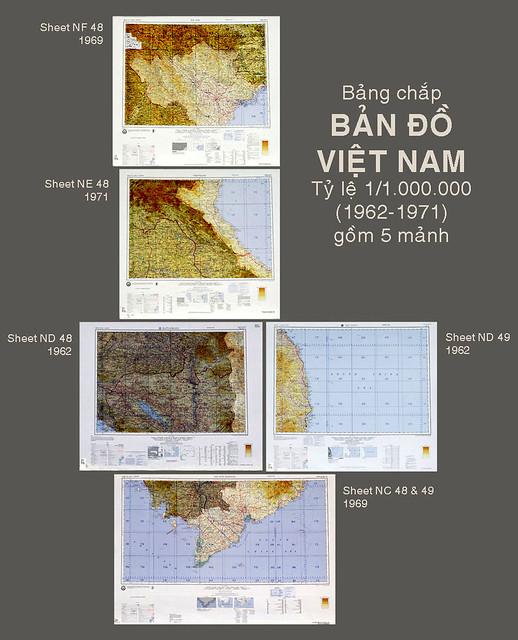 Bảng chắp 5 mảnh Bản đồ địa hình VN (do Sở Bản đồ Lục Quân Mỹ thực hiện 1962-1971)