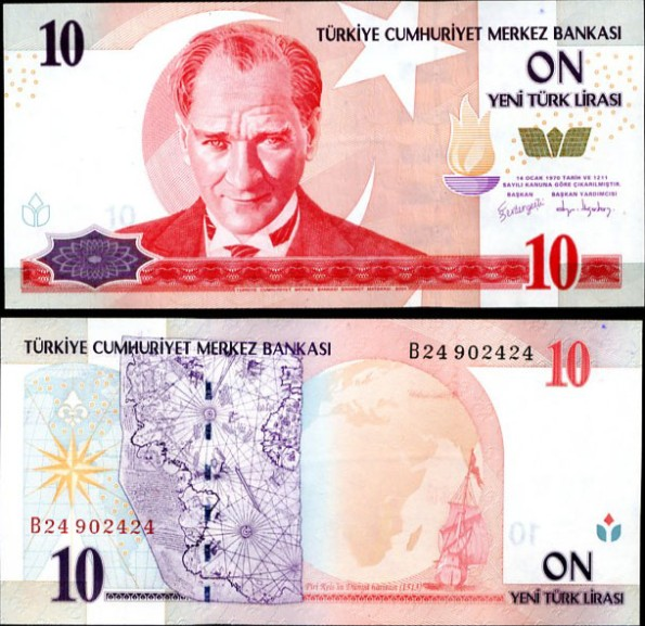 10 nových lír Turecko 2005, Pick 218