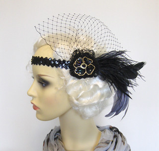 Black flapper veiled headband