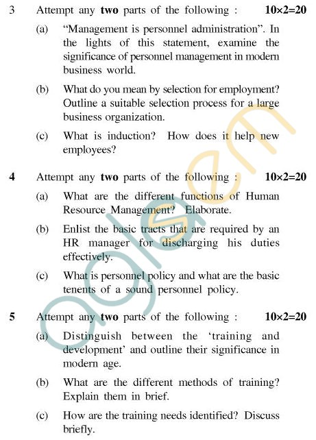 UPTU MCA Question Papers - MCA-121 - Organisational Structure & Personnel Management