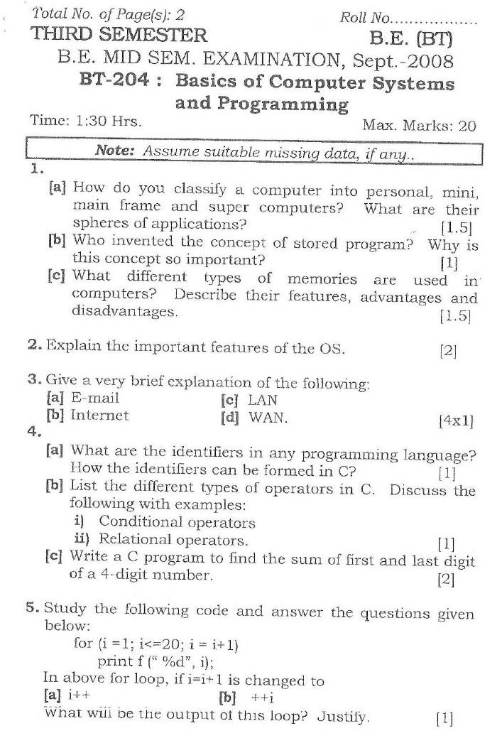 NSIT Question Papers 2008 – 3 Semester - Mid Sem - BT-204