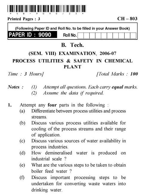 UPTU B.Tech Question Papers - CH-803 - Process Utilities & Safety in Chemical Plants