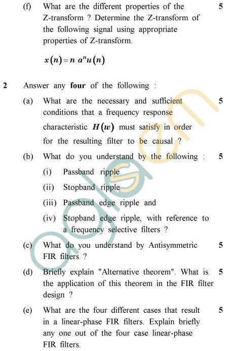 UPTU B.Tech Question Papers -EC-801 - Digital Signal Processing