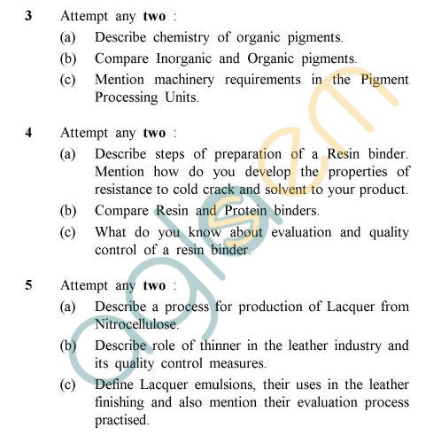UPTU B.Tech Question Papers - LT-011 - Leather Auxiliaries Technology