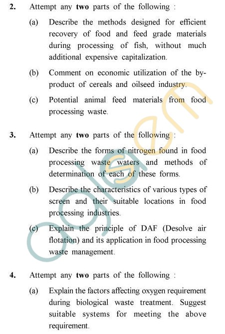 UPTU B.Tech Question Papers -FT-021 - Food Processing Waste Management