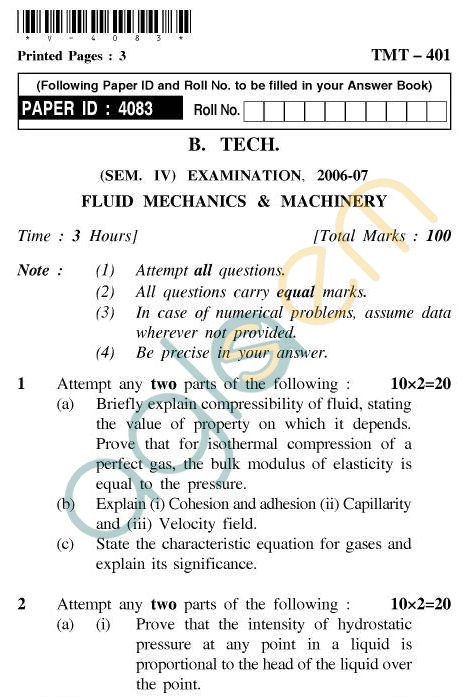UPTU B.Tech Question Papers - TMT-401 - Fluid Mechanics & Machinery
