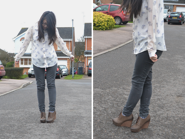 daisybutter - UK Style and Fashion Blog: what i wore, ootd, wiwt, how to wear collared shirts, patterned shirt, AG jeans, wedge booties, yeswalker