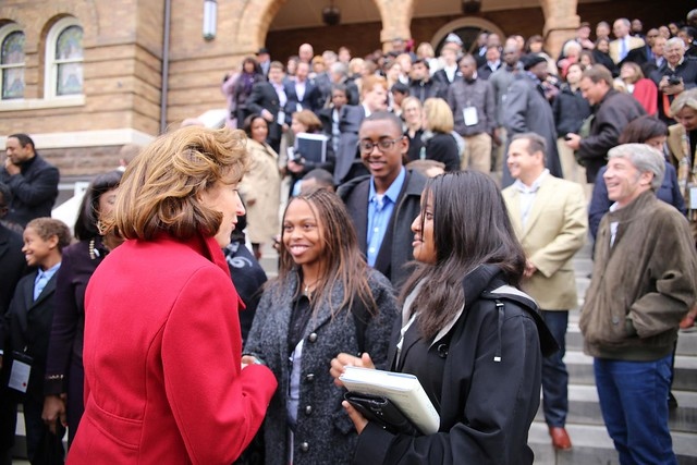 Students discuss the Congressional Civil Rights Pilgrimage at 16th Street Baptist Church in Birmingham, Alabama.