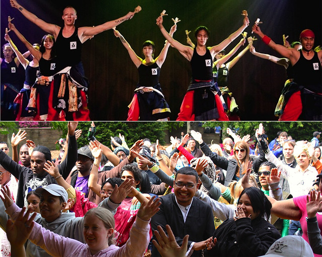 Yosakoi festival dance group 10tecomai (top); photo by Kenji Mori. Visitors dance at the J-Lounge (bottom); photo by Jean-Marc Grambert.