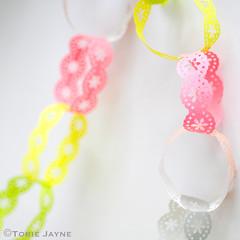 Neon & pastel lace paper chain