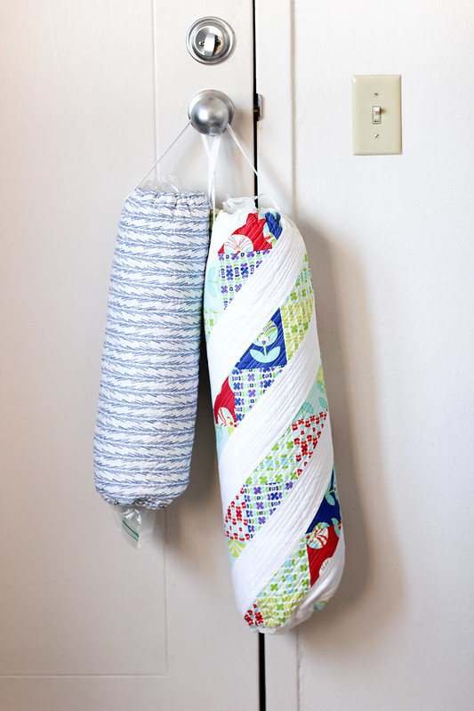 In color order quilted grocery bag holder tutorial