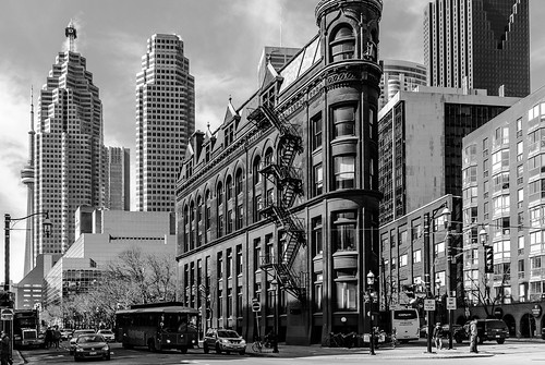 The Gooderham Flatiron Building with the ever-changing Toronto skyscraper backdrop - #69/365 by PJMixer
