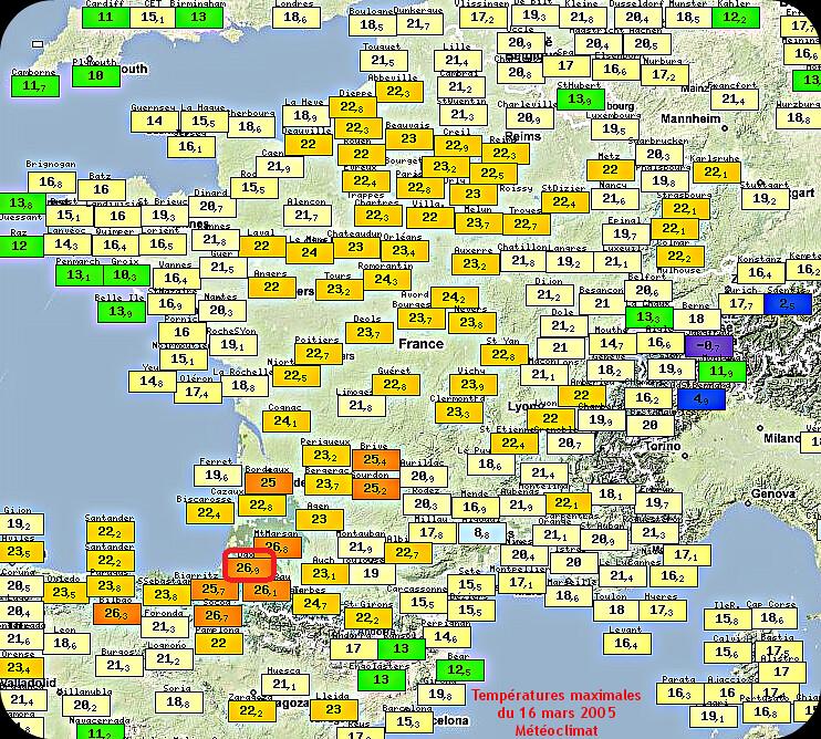 températures maximales et chaleur du 16 mars 2005 météopassion
