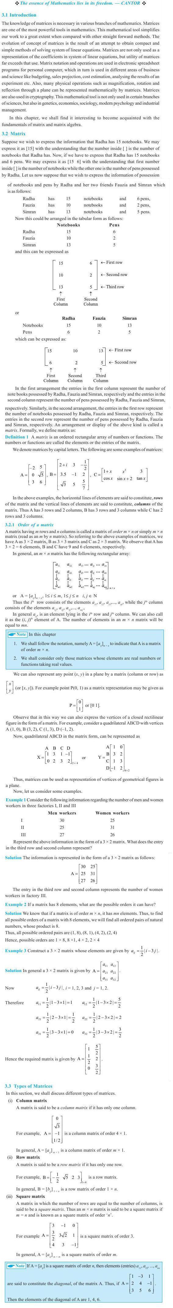 NCERT Class XII Maths Chapter 3 - Matrices