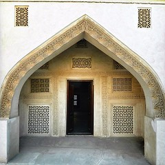 One of the doors of the rooms that are used for summer in the house of Sheikh Isa bin Ali