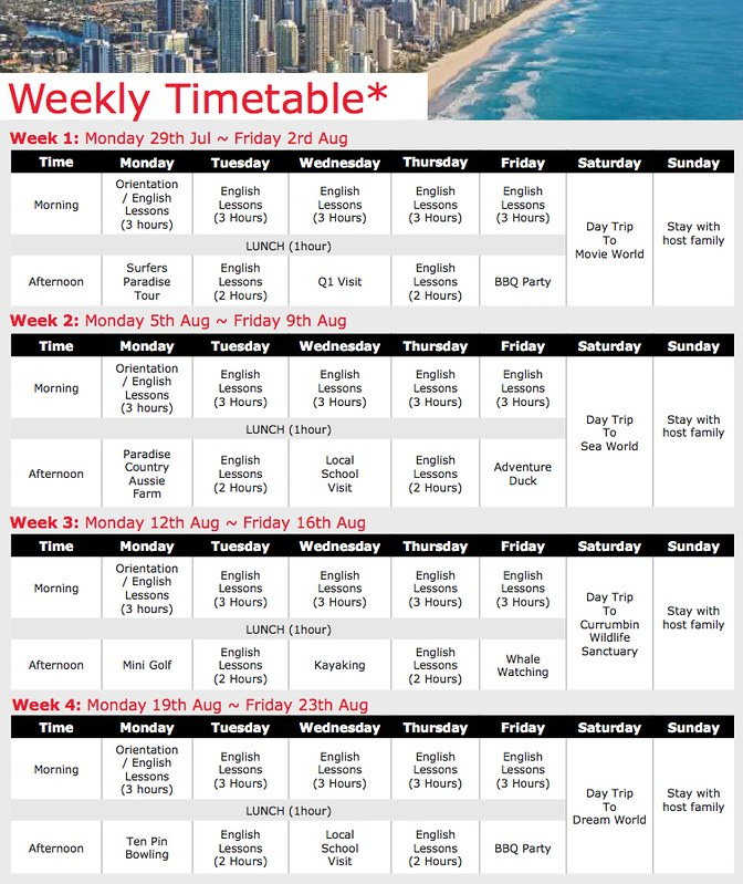 Browns Junior Program GC timetable