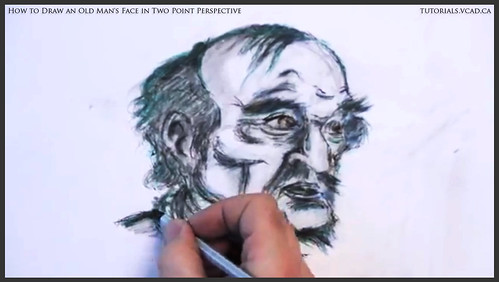learn how to draw an old man's face in two point perspective 046